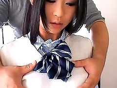 Chika Ishihara pert breasts are touched through her school unifor
