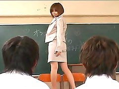 Rio Hamasaki takes her pantyhose off in front of her class