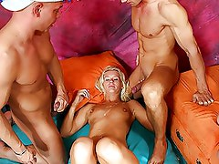 Blonde celebrating a sex party at her home