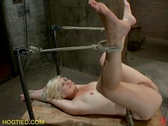 Short Haired Blonde Is Left Like A Cocoon With Bondage In BDSM Film