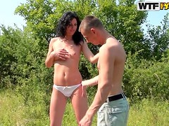 Slim Teen Brunette Has Her Shaved Pussy Pleased Outdoors