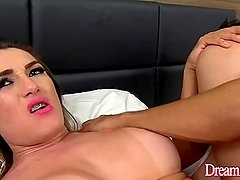 Hot shemale takes fat cock bareback