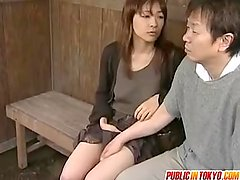 Japanese milf is fucked on a truck