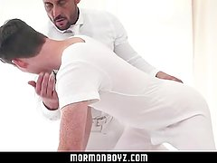 MormonBoyz-Muscle daddy priest leader barebacks Mormon ginger boy in ritual