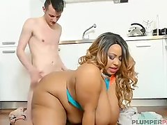 Exotic Ebony BBW Shanice Richards Sucks and Fucks Worker