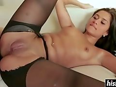 Giselle Mari wears sexy pantyhose while fucking