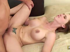 Short haired brunette with pierced nipples has flexible sex