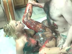 Food sex with a cute amateur blonde