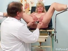 Legs in stirrups for pussy exam