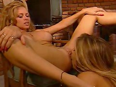 Smoking hot lesbians with great bodies fool around