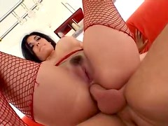Dark haired milf gets both her holes filled full