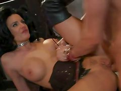 Hot dominatrix chick in boots fucked hard