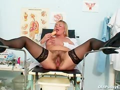 Mature nurse flashing her tits solo