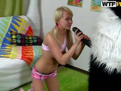 Pigtailed Blonde Teen Gets Her Pussy Pleased With The Help Of Her Teddy