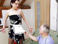 Guy taking advantage of his big breasted maid