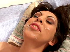 Busty Brunette Angela D'Angelo Takes To Hard Cock In A Threesome