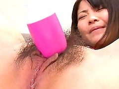 Kanna Harumi?s clit is teased with a vibrator making her cunt wet