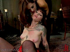 Sexy Brunette Gets A Taste A Pure Brutal Femdom