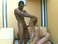 Big black cock in her tranny mouth