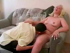 Fat blonde fucked by young skinny guy