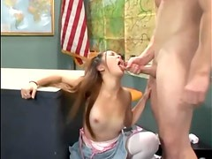 Teen cutie in white stockings fucked on a desk