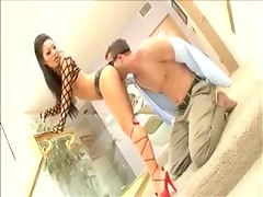 Asian chick in leather panties teases bound man
