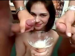 Sexy cum bucket drinks lots of loads