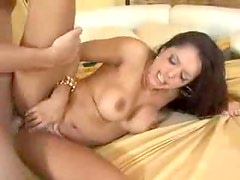 Glamorous and hot big tits brunette bedroom sex