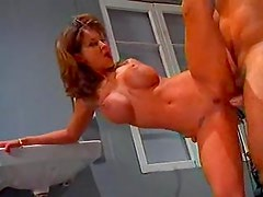 Redhead Audrey Hollander does incredible double fisting