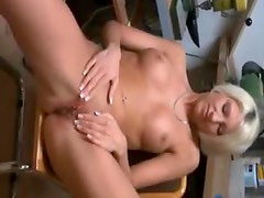 Amateur blonde with stunning body bends over for fuck