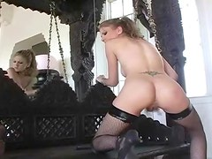 Babe with perfect ass rubbing her plump pussy