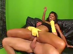 Tight oiled up body on fucked black slut