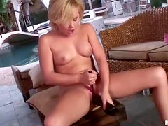 Lustful petite blonde getting in to her sex toys