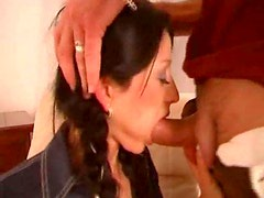 Braided pigtails girl face fucked and riding cock