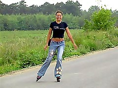 Roller Skating Cutie Masturbates With A Dildo In the middle Of The Road