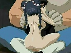 Sloppy little anime cutie slobbers all over a massive cock