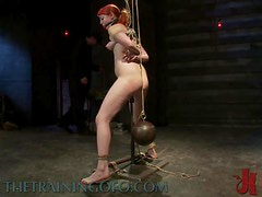 Redhead Hangs In The Air Thanks To Ropes and Gets Toyed