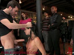 Slutty Brunette Gags With Big Fat Cocks In A Wild Gangbang