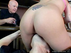 Sexy Samantha Slater Swallows A Big Cock As Her Husband Watches