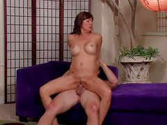 Classy milf with fake tits takes cum on tits