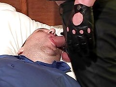 Bound bear sucking dick