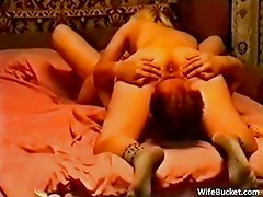 MILF wife in a homemade threesome
