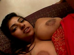 Indian Cutie With Big Natural Melons Gags On A Large Cock