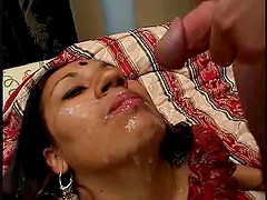 Horny Indian Chick Get Her Face Covered With Cum After A Hardcore Fuck