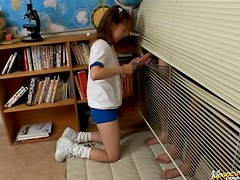 Cute Pigtailed Asian Teen Giving a Handjob Through The Blinds