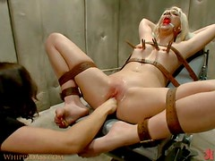 Strapon Fuck To a Submissive Blonde By Brunette Lesbian Dominatrix