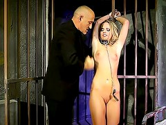 Sexy sub in the dungeon loves his cock