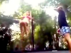 Young Couple Fuck on a Trampoline