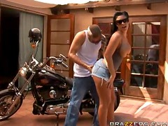 Busty Brunette Mason Moore Gets A Threesome With Two Hard Bikers