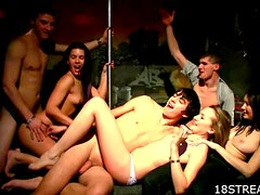 Hot Strip Club Orgy With Horny Babes